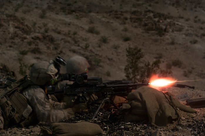 U.S. Marines with Company A., 1st Battalion, 8th Marine Regiment, 2nd Marine Division, fire an M240B machine gun as part of Integrated Training Exercise 1-19 at Twentynine Palms, Calif., Oct. 21, 2018. The large-scale exercise allows infantry units to bolster their combat capabilities in a desert environment in preparation for potential global contingencies.
