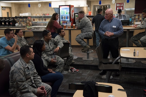 Michael James, Veterans Squaring Away Veterans executive vice president, speaks with Airmen about the Combined Federal Campaign at the bowling alley on Peterson Air Force Base, Colorado, Oct. 19, 2018.