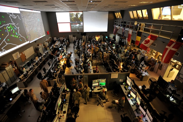 Combined Air Operations Center at Al Udeid Air Base, Qatar, provides command and control of airpower throughout Iraq, Syria, Afghanistan, and 17 other nations (U.S. Air Force/Joshua Strang)