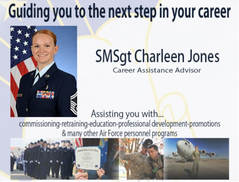 SMSgt Charlee Jones, 59th Medical Wing career assistance advisor, provides