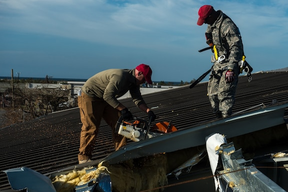823rd RED HORSE Squadron, Air Force Installation and Mission Support Center, perform structural repairs at the gas