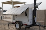A Solar Light Tower harnesses the power of sunlight and wind throughout the day to power a streetlight at night at Camp Arifjan, Kuwait, Oct. 23, 2018. Towers like this one all over Camp Arifjan provide service members with ample lighting at night to walk, exercise, or work safely at any hour, while utilizing renewable energy.