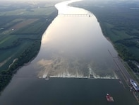 A bird's eye view of Locks and Dam 52 in Brookport, Illinois, in August before locking operations ceased.