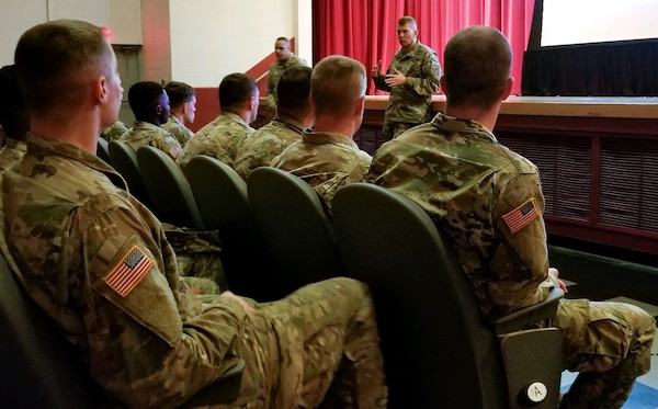 Army Lt. Gen. Jeffrey Buchanan, U.S. Army North (Fifth Army) commanding general, briefs newly arrived Soldiers from 4th Infantry Division, Fort Carson, Colo., and Fort Knox at Joint Base San Antonio-Lackland Oct. 31. The Soldiers are in Texas in support of Operation Faithful Patriot, which is a Department of Defense operation in support of the Department of Homeland Security and, Customs and Border Patrol in order to provide national security at the nation's southern border.