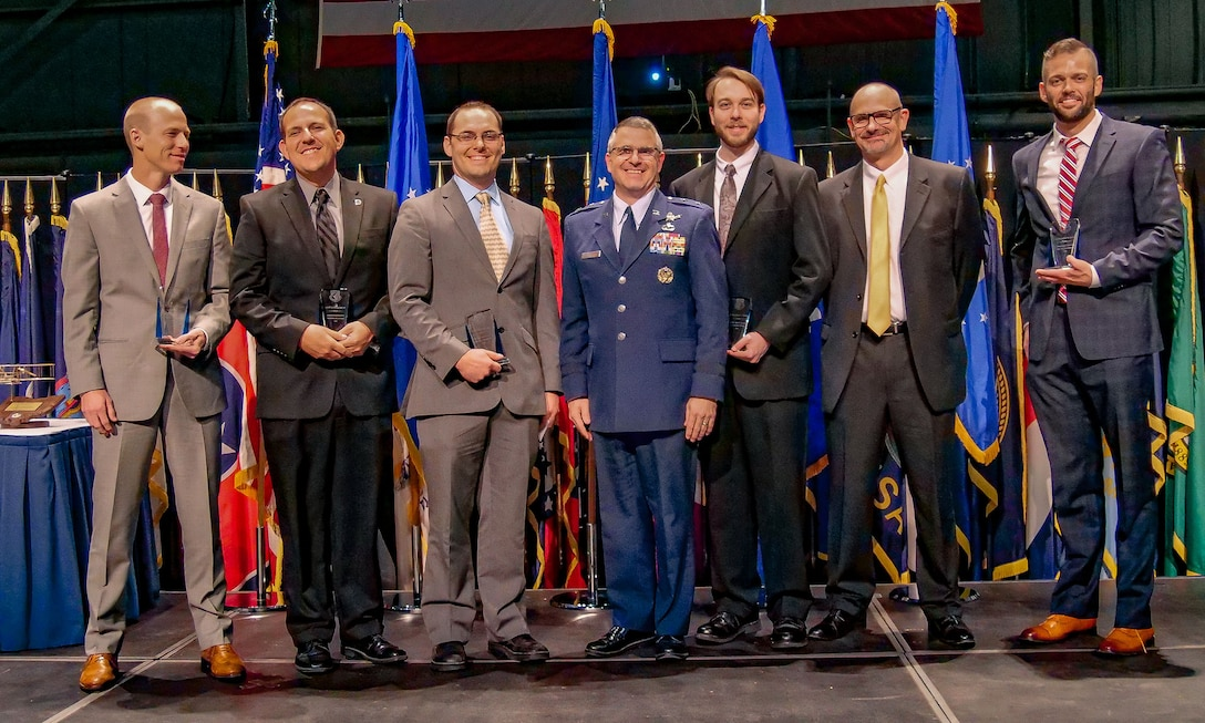 Five scientists and engineers were recognized with the Science and Engineering Early Career Award during the 2018 AFRL Fellows and Science and Engineering Early Career Awards Banquet held at the National Museum of the United States Air Force Oct. 25. The AFRL Science and Engineering Early Career Award honors AFRL's most promising young scientists and engineers for exceptional leadership potential and mission contributions early in their research careers. (U.S. Air Force photo/Keith Lewis)