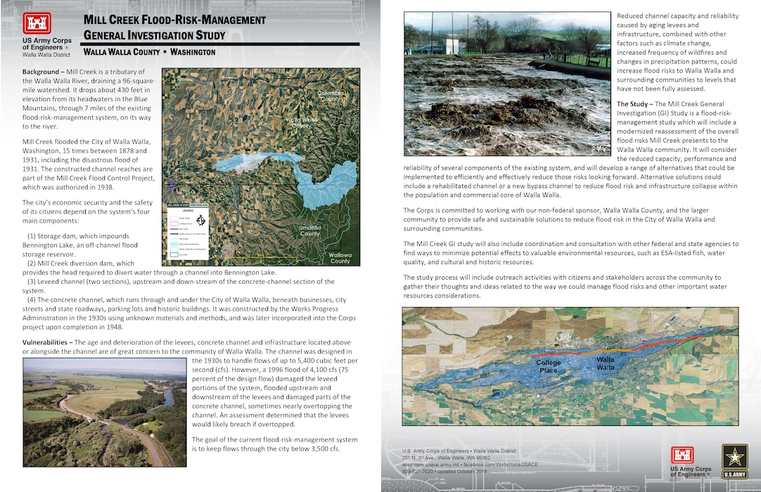 Mill Creek Flood-Risk-Management General Investigation Study (fact sheet updated October 2018)