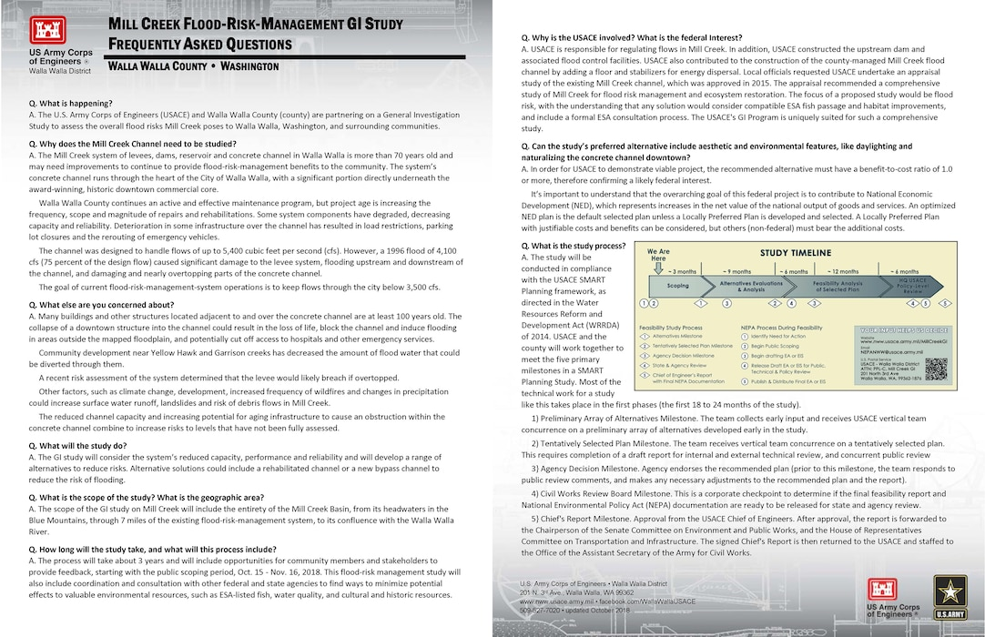 Mill Creek General Investigation Study -- Frequently Asked Questions (fact sheet updated October 2018)