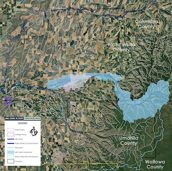 Mill Creek General Investigation Study - map of initial study area. The scope of the GI study on Mill Creek will include the entirety of the Mill Creek Basin, from its headwaters in the Blue Mountains, through 7 miles of the existing flood-risk-management system, to its confluence with the Walla Walla River.