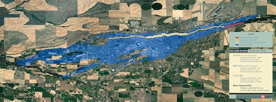 Mill Creek General Investigation Study -- map of the leveed area at risk in Walla Walla, Washington, and surrounding communities. Left Bank (south side of levee system) -- Population at Risk (PAR): 19,000; Number of Structures 8,500; Estimated Damages $800 million. Right Bank (north side of levee system) -- Population at Risk (PAR) 2,700; Number of Structures 1,100; Estimated Damages: $400 million. Total at Risk -- Population at Risk (PAR) 21,700; Number of Structures 9,600; Estimated Damages $1.2 billion. Most Importantly -- There is potential life loss associated with a potential breech of the Mill Creek Levee System.
