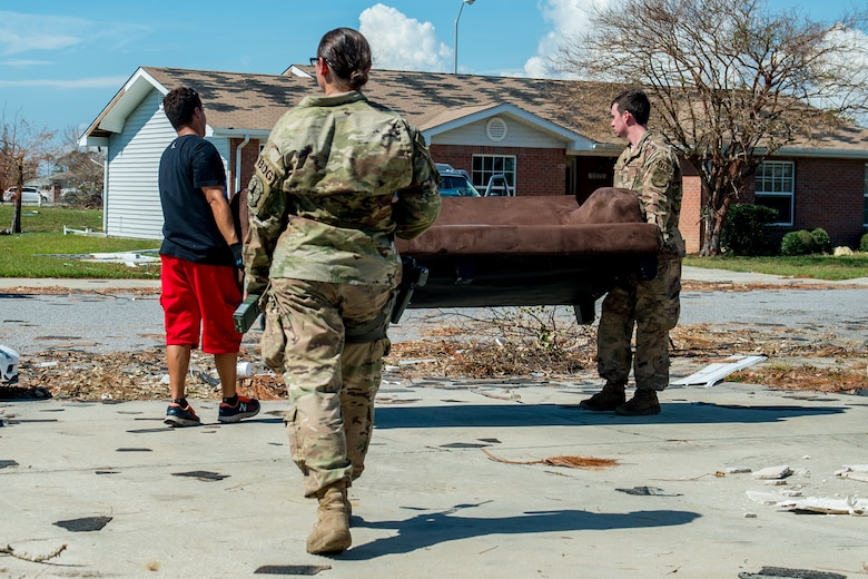 Airmen from Tyndall Air Force Base, Florida, return to base housing on Oct. 17, 2018 for the first time since Hurricane Michael devastated the area one week ago.