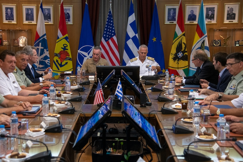 Marine Corps Gen. Joe Dunford, chairman of the Joint Chiefs of Staff, meets with Greek officials.