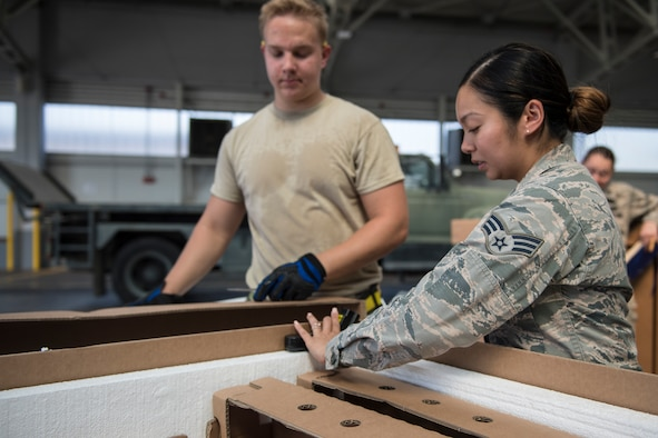 39th Medical Operations Squadron food safety and public sanitation NCOIC inspects a new shipment of food at Incirlik AB