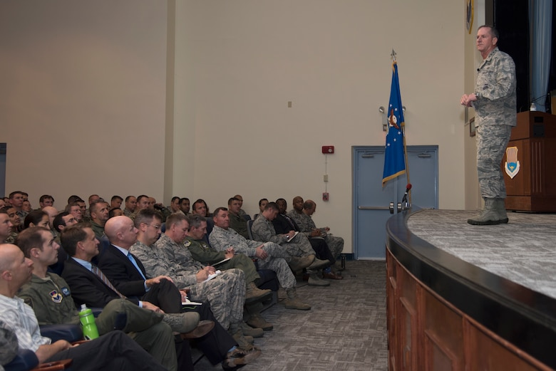 Air Force Chief of Staff Gen. David L. Goldfein speaks to Air Command and Staff College.