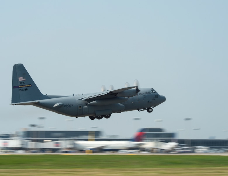 U.S. Air Force C-130 Hercules from the 96th Airlift Squadrons, takes off in St. Paul, Minn., Aug. 8, 2018.