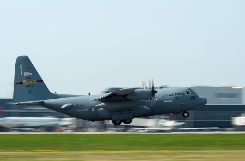 U.S. Air Force C-130 Hercules from the 109th Airlift Squadrons, takes off in St. Paul, Minn., Aug. 8, 2018.
