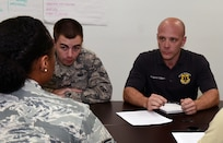 Richard Kilpper (right) listens to a Rogers Airman Leadership School Class 18-6 classmate during an exercise Aug. 29 at the Rogers Airman Leadership School on Joint Base San Antonio-Lackland. Kilpper is a 12th Maintenance Group aircraft engine quality assurance inspector at JBSA-Randolph. He was the only civilian in the class and was among the top seven students academically.