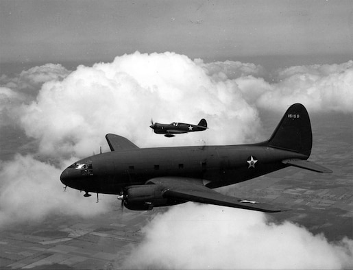"""The Curtiss C-46 """"Commando"""" was flown by 349th Air Mobility Wing starting in the spring of 1945. The Commando joined the C-47 in flying combat cargo missions into the European Theater."""