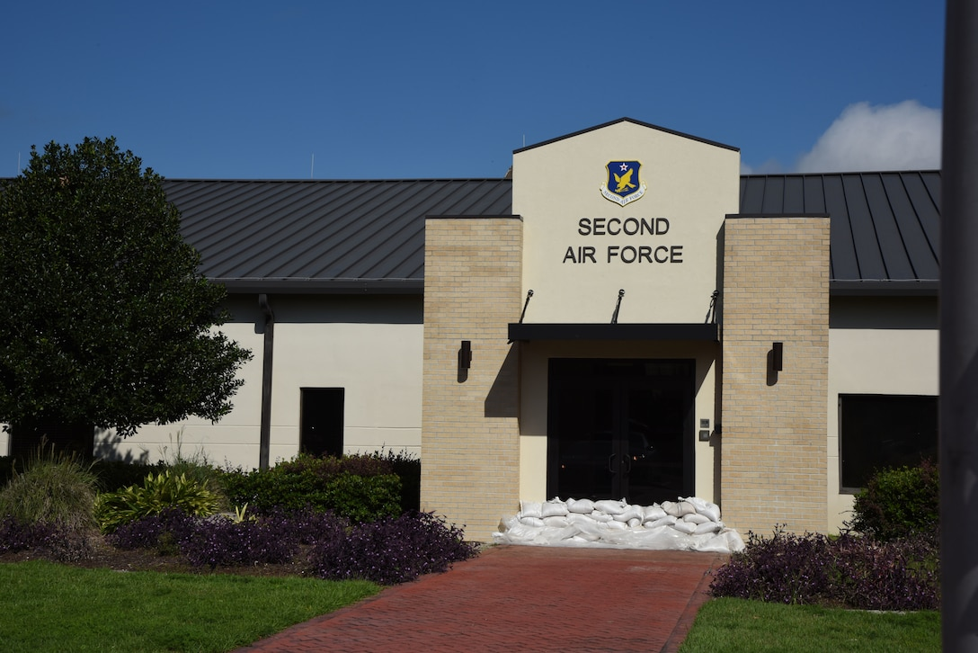 Sandbags block the entrance to the 2nd Air Force headquarters building on Keesler Air Force Base, Mississippi, Sept. 4, 2018. Safety measures are being taken around the base to prepare for the arrival of Hurricane Gordon to the Gulf Coast Sept. 4. (U.S. Air Force photo by Kemberly Groue)