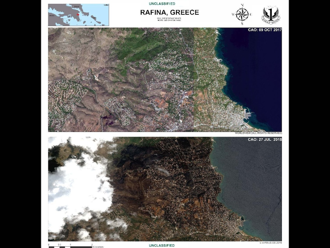 The Eagle Vision 1 produced images of before and after fires in Rafina, Greece, on Oct. 9, 2017, and on July 27, 2018, for Greek wildfires investigation and recovery operations. Eagle Vision has also provided humanitarian support to the Italian Ministry of Defense after an earthquake. (Courtesy Photo)