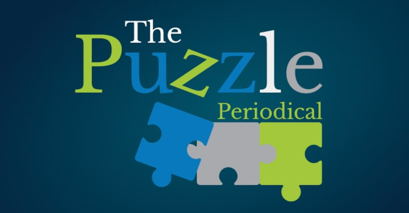 "Puzzle Periodical Logo - The words ""Puzzle Periodical"" rest on top of 3 puzzle pieces of varying colors"