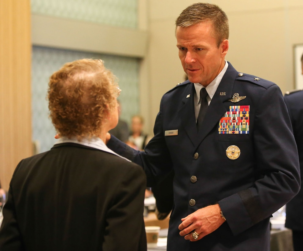 Brig. Gen. Kenneth Ekman, Vice Commander, 1st Air Force (Air Forces Northern), talks with a guest at the 2018 Civil Air Patrol National Conference in Anaheim, Calif., Aug. 22. Ekman is a member of CAP's Board of Governors. Civil Air Patrol is the auxiliary of the U.S Air Force and is a proud partner in the Total Force with more than 59,000 volunteer Airmen. (Civil Air Patrol photo by Lt. Col. Robert Bowden)