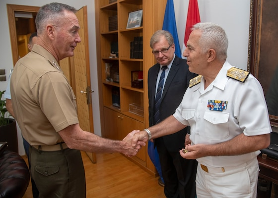 Marine Corps Gen. Joe Dunford, chairman of the Joint Chiefs of Staff, meets with Greek Navy Adm. Evangelos Apostolakis, Chief of the Hellenic National Defence General Staff, at the Ministry of Defence in Athens, Greece, Sept. 4, 2018.