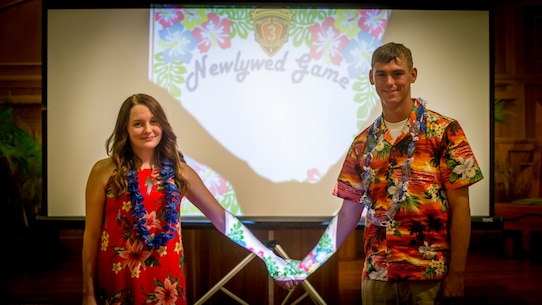 3d Marine Regiment host a Newlywed game night
