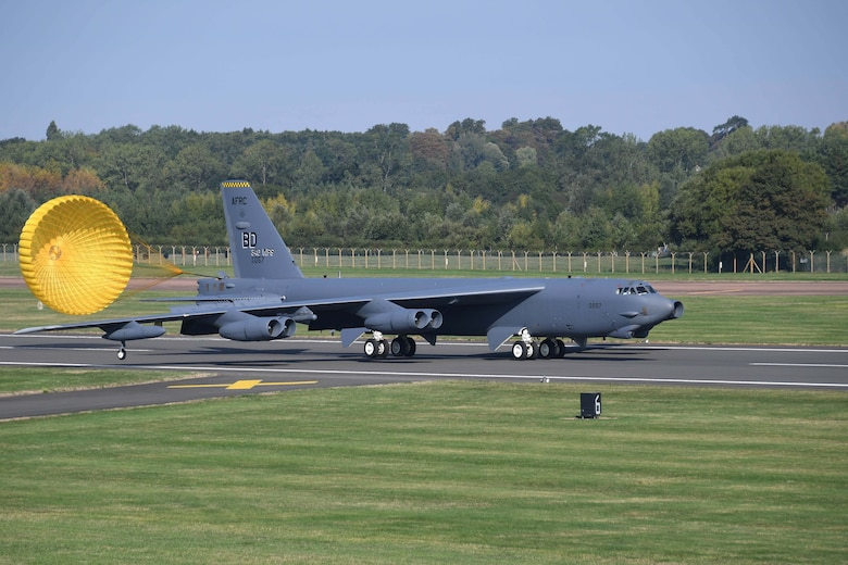 A B-52 Stratofortress from Barksdale Air Force Base arrives at RAF Fairford, England, Sept. 5, 2018. The jet is in the U.K. in support of AMPLE STRIKE 18, a Czech-led exercise involving 19 NATO allies and partners. The exercise is designed to test interoperability with Joint Terminal Air Controllers from multiple countries. Citizen Reserve Airmen and their active-duty counterparts from multiple units are working together at RAF Fairford to support bomber operations during the exercise. (U.S. Air Force photo by Master Sgt. Ted Daigle)