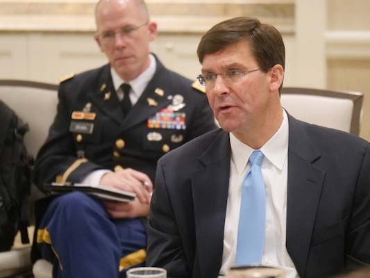 Secretary of the Army Dr. Mark T. Esper meets with journalists from the Defense Writers Group, an association of news outlets with reporters that cover national security issues, at the Fairmont Hotel Aug. 29.
