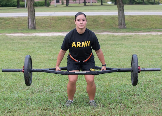Sgt. Bruna Galarza demonstrates the deadlift event during a pilot for the Army Combat Fitness Test, a six-event assessment designed to reduce injuries and replace the current Army Physical Fitness Test.