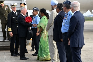 Defense Secretary James N. Mattis speaks with the Indian defense minister.