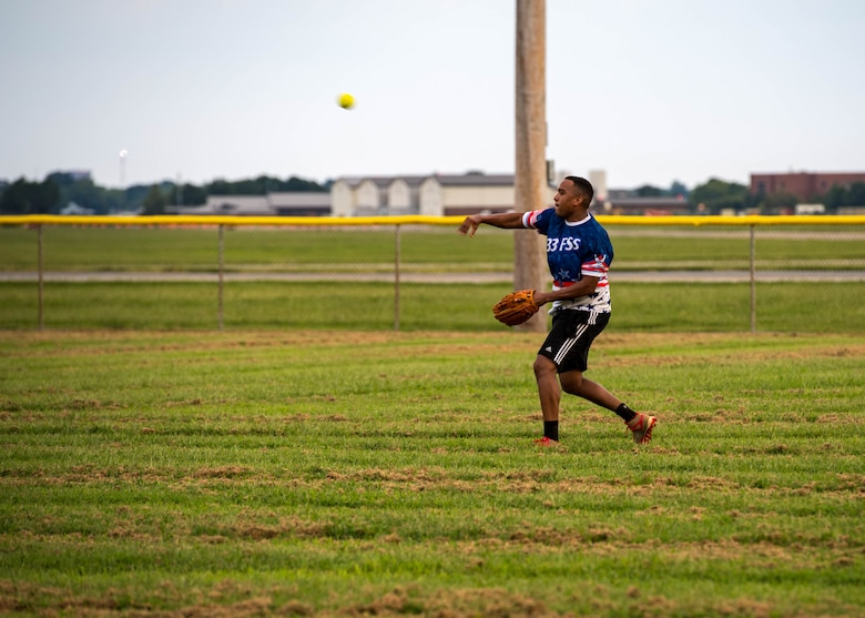 U.S. Air Force Senior Airman Jancarlos Uribe Cordero, 633rd Mission Support Group executive assistant, throws the ball from the outfield during the intramural softball championship at Joint Base Langley-Eustis, Virginia, Aug. 30, 2018.
