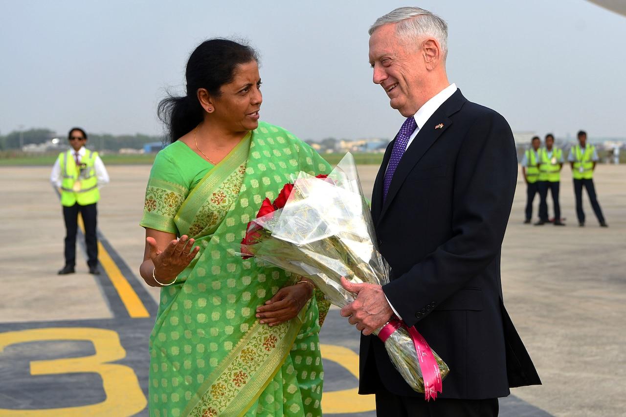 Defense Secretary James N. Mattis speaks with the Indian defense minister.