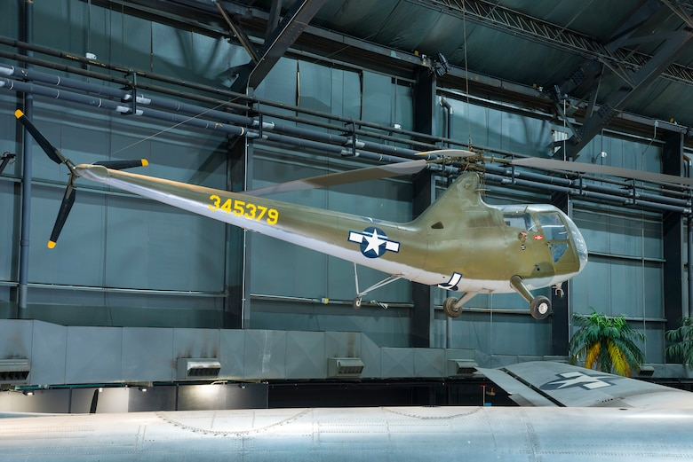 Sikorsky R-6A Hoverfly II in the World War II Gallery at the National Museum of the United States Air Force. (U.S. Air Force photo by Ken LaRock)