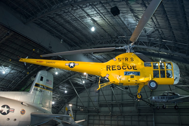 Sikorsky YH-5A on display in the Korean War Gallery at the National Museum of the United States Air Force. (U.S. Air Force photo by Ken LaRock)