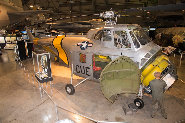 Sikorsky UH-19B Chickasaw in the Korean War Gallery at the National Museum of the United States Air Force. (U.S. Air Force photo by Ken LaRock)