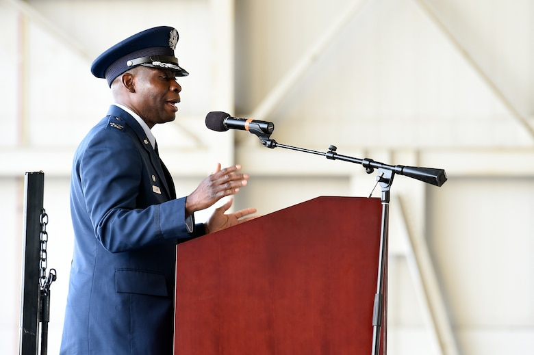 Col. Terrence Adams delivers remarks after assuming command of the 628th Air Base Wing and Joint Base Charleston during a change of command ceremony Sept. 5, 2018, at Joint Base Charleston, S.C. Adams replaced Col. Jeff Nelson as commander of the wing after serving at Scott Air Force Base, Ill., as Air Mobility Command's director of communications and chief information officer. Joint Base Charleston is one of 12 Department of Defense joint bases and is host to over 60 DOD and federal agencies. The 628th ABW delivers installation support to over 90,000 Airmen, Sailors, Soldiers, Marines, Coast Guardsmen, civilians, dependents and retirees across four installations including the Air Base and Naval Weapons Station.