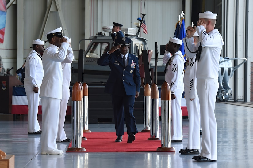 Col. Terrence Adams, incoming 628th Air Base Wing commander and Joint Base Charleston commander, departs after a change of command ceremony Sept. 5, 2018, at Joint Base Charleston, S.C. Adams replaced Col. Jeff Nelson as commander of the wing after serving at Scott Air Force Base, Ill., as Air Mobility Command's director of communications and chief information officer. Joint Base Charleston is one of 12 Department of Defense joint bases and is host to over 60 DOD and federal agencies. The 628th ABW delivers installation support to over 90,000 Airmen, Sailors, Soldiers, Marines, Coast Guardsmen, civilians, dependents and retirees across four installations including the Air Base and Naval Weapons Station.