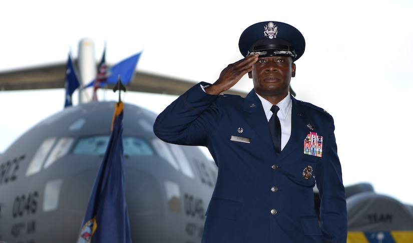 Col. Terrence Adams renders his first salute as commander to the men and women of the 628th Air Base Wing during a change of command ceremony Sept. 5, 2018, at Joint Base Charleston, S.C. Adams replaced Col. Jeff Nelson as commander of the wing and joint base after serving at Scott Air Force Base, Ill., as Air Mobility Command's director of communications and chief information officer. Joint Base Charleston is one of 12 Department of Defense joint bases and is host to over 60 DOD and federal agencies. The 628th ABW delivers installation support to over 90,000 Airmen, Sailors, Soldiers, Marines, Coast Guardsmen, civilians, dependents and retirees across four installations including the Air Base and Naval Weapons Station.