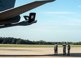 Maintainers from the 155th Air Refueling Wing, Nebraska Air National Guard, conduct a final look-over  a KC-135 Stratotanker refueling aircraft before a flight in support of Exercise Ample Strike 2018, at Pardubice Air Base, Czech Republic. Ample Strike is a Czech Republic-led, multinational live exercise that offers advanced air/land integration training to Joint Terminal Attack Controllers (JTACs) and Close Air Support (CAS) aircrews.  The exercise highlights the United States and our NATO allies and partner nations commitment to defending the territorial integrity of Europe. (U.S. Air National Guard Photo by Tech. Sgt. Rana Franklin)