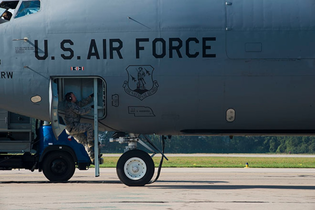 Master Sgt. Scott Sokolik, communications navigator for the 155th Air Refueling Wing, Nebraska Air National Guard, performs final checks on a KC-135 Stratotanker refueling aircraft before take-off at Pardubice Air Base, Czech Republic, during Exercise Ample Strike 2018. Amplet Strike is a Czech Republic-led, multinational exercise that offers air/land integration training to joint terminal attack controllers (JTACS) and close air support (CAS) aircrews. The 155th ARW operated as the premier tanker unit for the exercise, strengthening the relationship Nebraska has with the Czech Republic through both Ample Strike and the State Partnership Program. (U.S. Air National Guard Photo by Tech. Sgt. Rana Franklin)