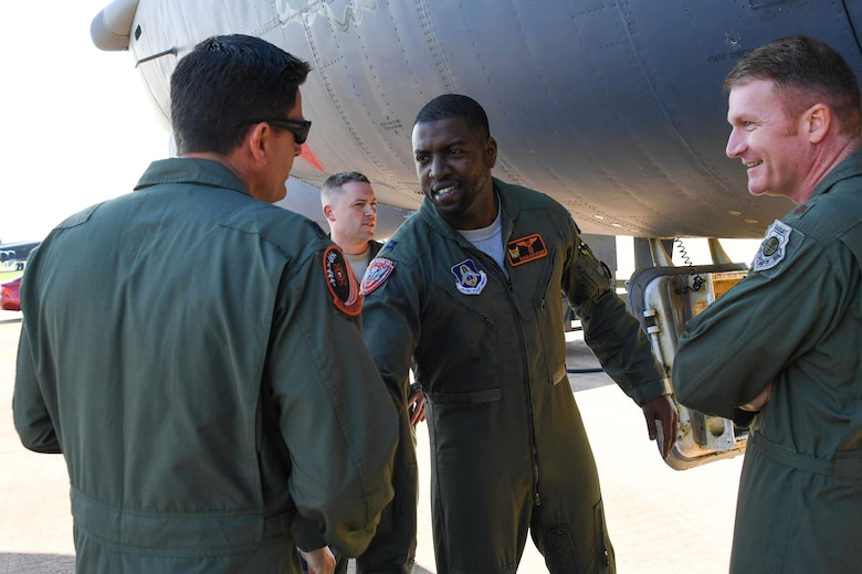 U.S. Air Force Capt. Dane McKenzie, 345th Bomb Squadron weapons system officer greets Lt. Col. Pat Booker, 307th Bomb Wing detachment commander, after arriving at RAF Fairford, United Kingdom, Sept. 5, 2018.   McKenzie and other air crew came in from Barksdale Air Force Base, Louisiana and is in the U.K. as part of the Air Force's bomber task force operations.  Such operations are routinely conducted to demonstrate the United States' commitment to allies and partners in the region and enhance readiness to respond to any contingencies around the globe.  They also provide opportunities to work with allies and partners in the region. (U.S. Air Force photo by Master Sgt. Ted Daigle/not released)
