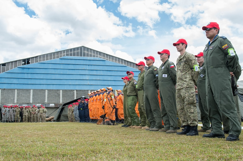 Service members across 12 countries came together to participate in the opening ceremony of the joint exercise Angel de los Andes, Sept. 3, 2018, at Air Combat Command-5, Rionegro, Colombia.  Angel de los Andes is a search and rescue exercise hosted by Colombia involving 12 partner nations that will work together in a joint environment and focus on exercising search and rescue, aeromedical evacuation and casualty evacuation operations. (U.S. Air Force Photo by Staff Sgt. Robert Hicks)