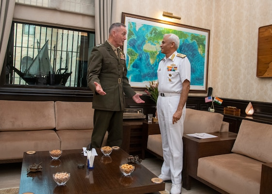 Marine Corps Gen. Joe Dunford, chairman of the Joint Chiefs of Staff, meets with Indian Adm. Sunil Lanba, PVSM, AVSM, ADC, Indian Chief of the Naval Staff and Chairman of the chiefs of staff committee at the Ministry of Defence in New Delhi, India Sept. 6, 2018.