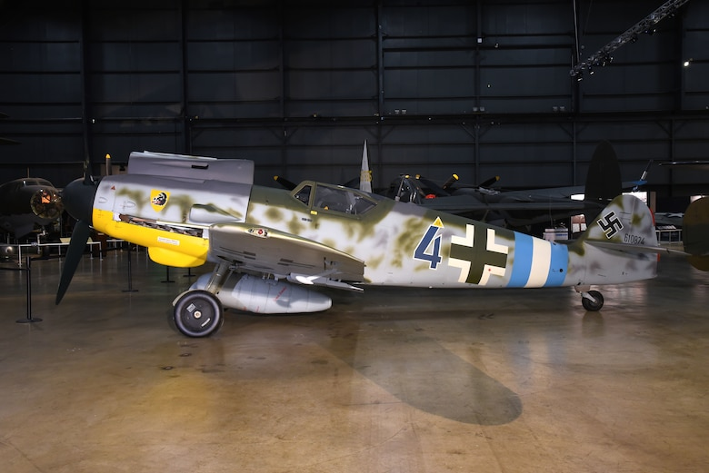 DAYTON, Ohio -- Messerschmitt Bf 109G-10 at the National Museum of the United States Air Force. The museum's Bf 109G-10 is painted to represent an aircraft from Jagdgeschwader 300, a unit that defended Germany against Allied bombers during WWII. (U.S. Air Force photo by Ken LaRock)