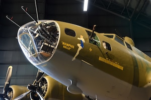 DAYTON, Ohio -- Boeing B-17F Memphis Belle on display in the WWII Gallery at the National Museum of the United States Air Force. B-17's flew in every combat zone during World War II, but its most significant service was over Europe. Along with the B-24 Liberator, the B-17 formed the backbone of the USAAF strategic bombing force, and it helped win the war by crippling Germany's war industry. (U.S. Air Force photo by Ken LaRock)