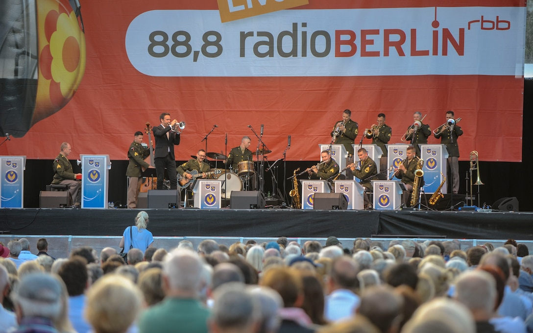 Till Brönner, famous German jazz trumpeter, and U.S. Air Forces in Europe Band members perform a jazz song during a Berlin Airlift 70th Anniversary commemoration in Berlin, Germany, Sept. 4, 2018. The USAFE Band and Brönner performed together to not only commemorate the Berlin Airlift but also the friendship and partnership between the U.S. and Germany. (U.S. Air Force photo by Staff Sgt. Timothy Moore)