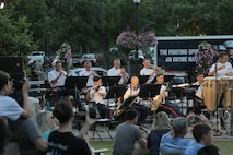 On Aug. 23, 2018, the Marine Latin Jazz Ensemble performed at Pentagon Row in Arlington, Va. (U.S. Marine Corps photo by Master Sgt. Kristin duBois/released)