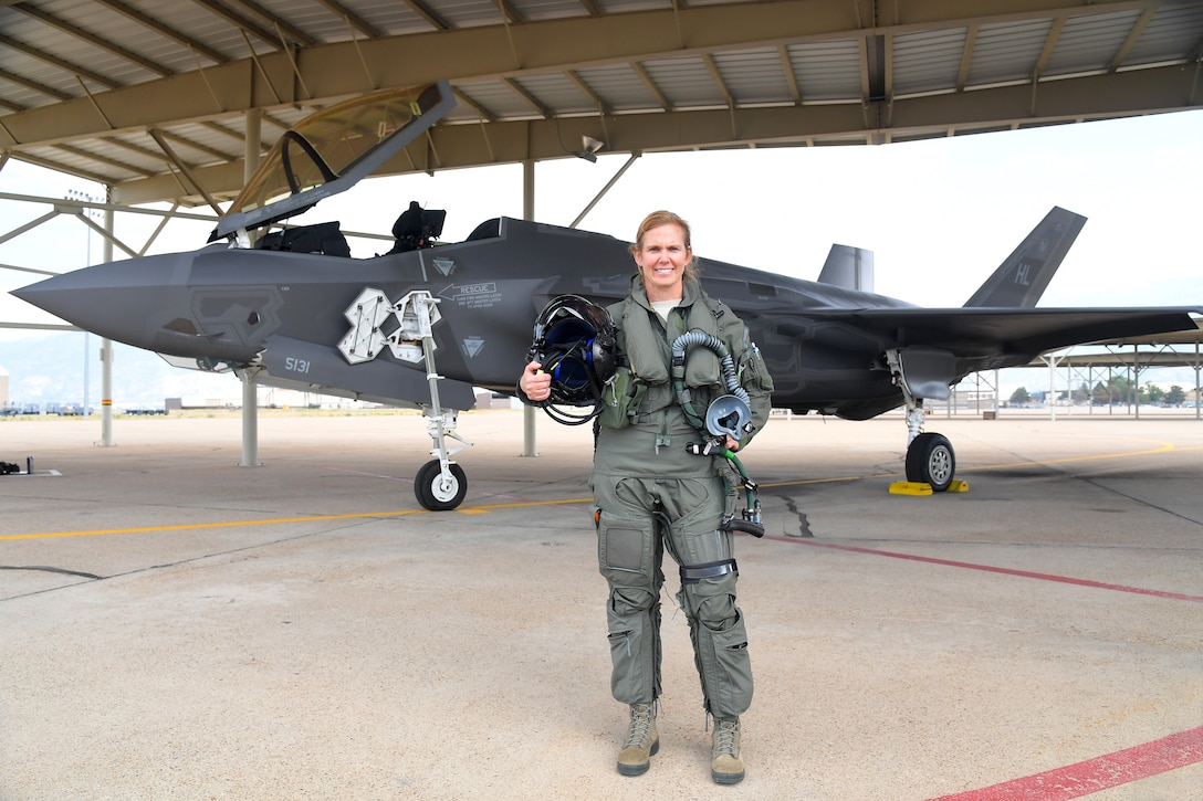 """Col. Gina """"Torch"""" Sabric, commander of the 419th Fighter Wing at Hill Air Force Base, Utah, and the Air Force Reserve's first female F-35 pilot"""