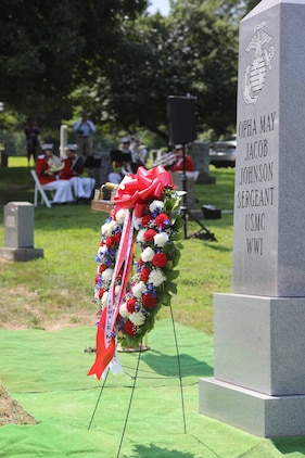 On Aug. 29, 2018, a Marine brass quintet participated in the Memorial Unveiling Ceremony for Opha May Johnson at Rock Creek Cemetery in Washington, D.C. Johnson was the first woman to enlist in the Marine Corps in 1918. (U.S. Marine Corps photo by Master Sgt. Amanda Simmons/released)